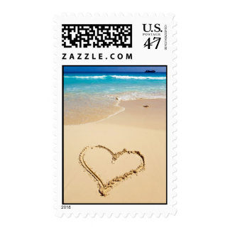 Heart on the Shore Beach Wedding Postage Stamps
