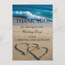Heart on the Shore Beach Wedding Thank You Note