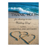 Heart on the Shore Beach Wedding Thank You Note Card