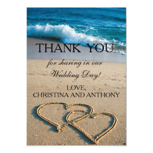 Heart On The S Beach Wedding Thank You Note Card