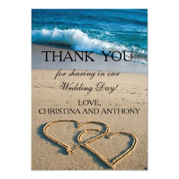 Beach Themed Heart on the Shore Beach Wedding Thank You Note Card