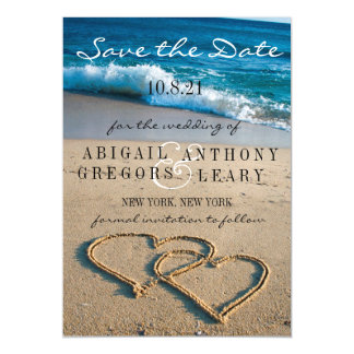 Heart on the Shore Save the Date Picture Magnet Magnetic Card
