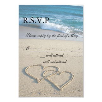 Heart on the Shore Wedding RSVP Cards Invitation