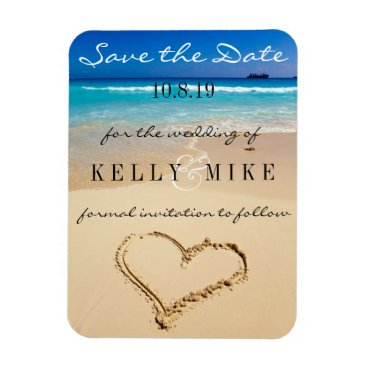 Valentines Themed Heart on the Shore Wedding Save the Date Magnet
