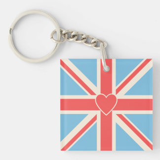Heart on Union Jack Design Cream, Light Blue & Red Key Chain