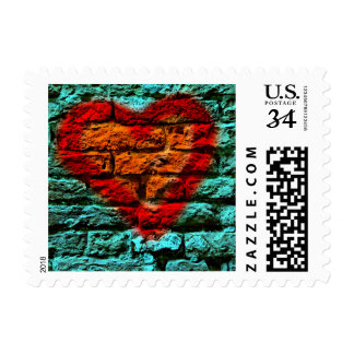 Heart on wall postage
