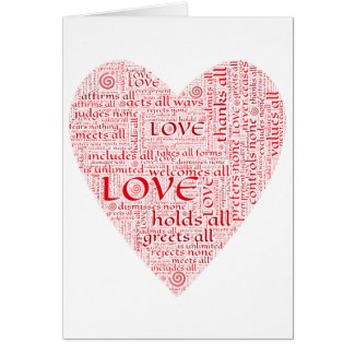 Heart or Valentine honoring unconditional love Greeting Card
