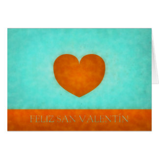 Heart orange Happy watercolor San Valentin Card