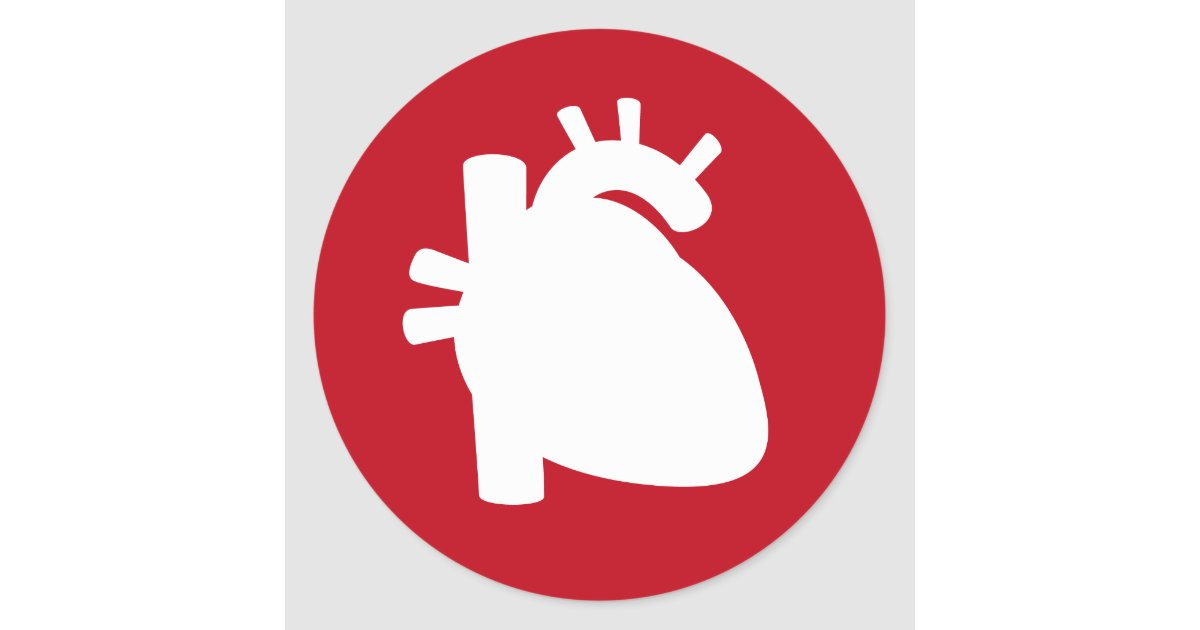 Heart Organ Silhouette Red Medical Symbol Sticker Zazzle