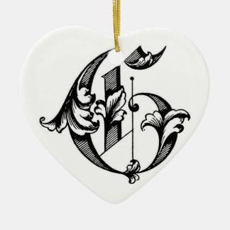 Heart Ornament Initial G