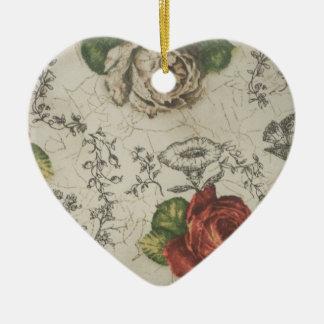 Heart ornament. Rose design Ceramic Ornament