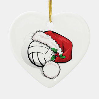 Heart Ornament with a Volleyball Santa Cap