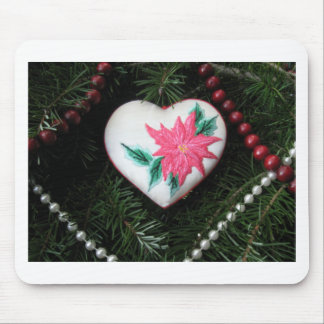 Heart ornament with Embroidered Poinsettia Mouse Pad
