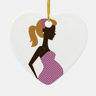 Heart ornament with pregnant girl