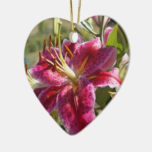 Heart Ornaments Pink Lily Flowers Floral Holidays