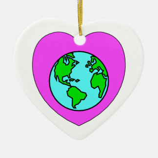 Heart Our Planet Ceramic Ornament
