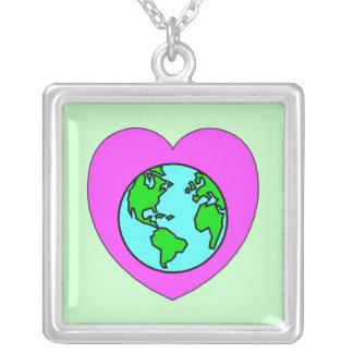 Heart Our Planet Square Pendant Necklace