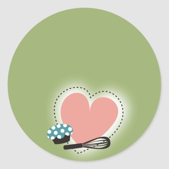 heart outline baking cupcake from the kitchen of s classic round sticker