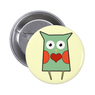Heart Owl Button