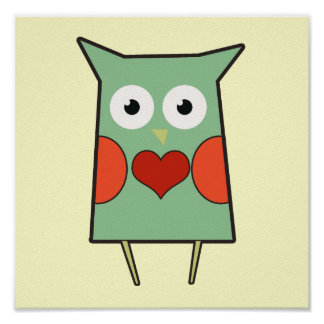 Heart Owl Poster