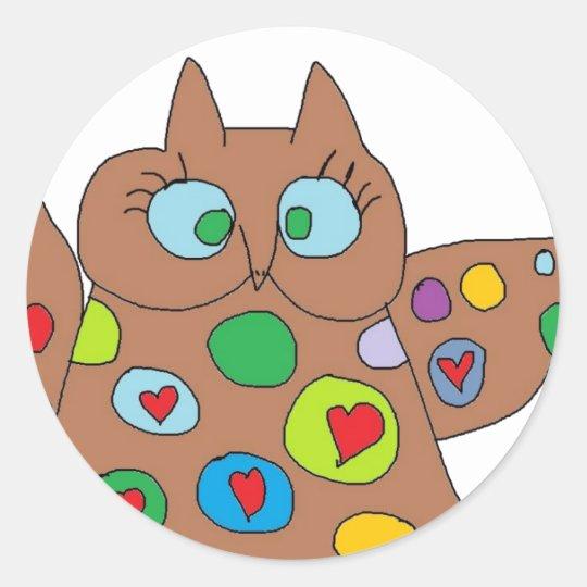 Heart owl stickers
