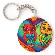 Heart Owls Keychain