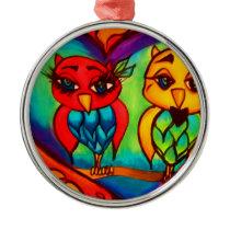 Heart Owls Metal Ornament