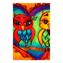 Heart Owls Stationery