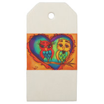 Heart Owls Wooden Gift Tags