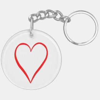 Heart painted on white background keychain