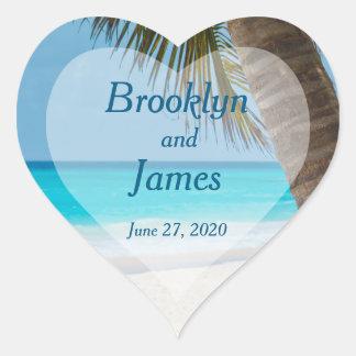 Heart Palm Trees On Beach Wedding Stickers