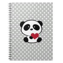 Heart Panda Bear Gray Polka Dots Notebook