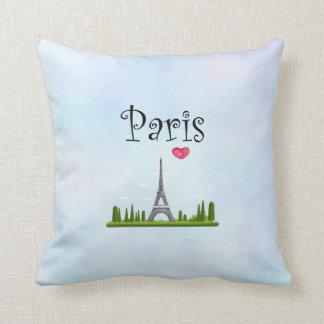 Heart Paris with Eiffel Tower Throw Pillow
