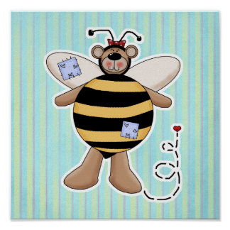 Heart Patch Bumble Bee Bear Poster