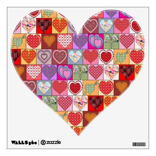 HEART PATCHES WALL DECAL