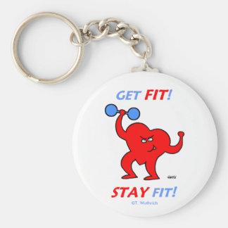 Heart Patient Motivational Cardio Fitness Basic Round Button Keychain