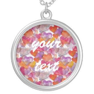 HEART Pattern ART 4 + your text Round Pendant Necklace