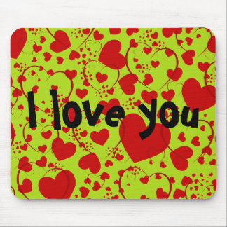 HEART Pattern ART 5 + your text | lightgreen Mouse Pad