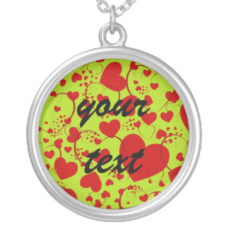 HEART Pattern ART 5 + your text   lightgreen Round Pendant Necklace
