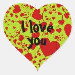 HEART Pattern ART 5 + your text | lightgreen Sticker