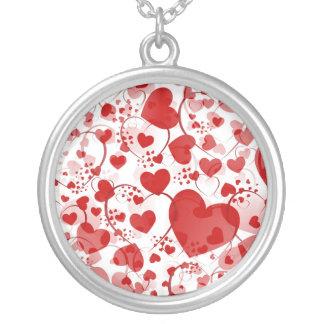 HEART pattern ART 7 Round Pendant Necklace