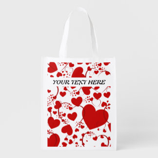 Heart Pattern ART V + your Background & Text Market Tote