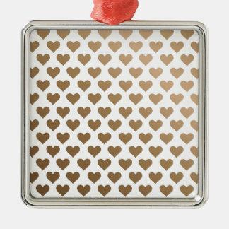 Heart Pattern - Chocolate Gradient Metal Ornament