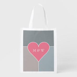 Heart Pattern custom monogram reusable bag Market Tote