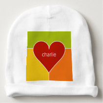 Heart Pattern custom name baby beanie