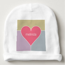 Heart Pattern custom name baby beanie