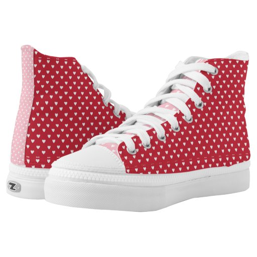 Heart Pattern High-Top Sneakers