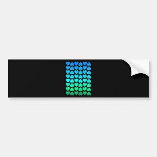 Heart Pattern In Blue Aqua And Green Bumper Sticker