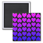 Heart Pattern In Blue Mauve And Purple Fridge Magnet