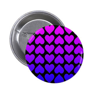 Heart Pattern In Blue Mauve And Purple Pinback Button